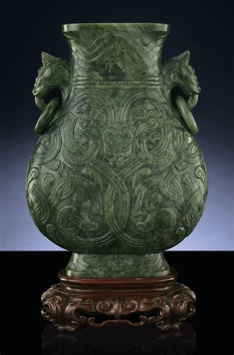 Qing Dynasty Vase Value by A Finely Carved Spinach Green Jade Vase Hu Qing Dynasty