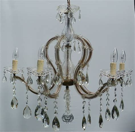 5 Arm Vintage Crown Shape Marie Therese With Large Lead Vintage Chandelier Company