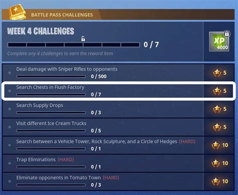 fortnite quests fortnite br flush factory chest locations week 4 challenge