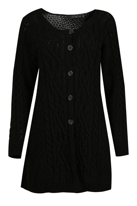 swing jumpers womens ladies chunky knitted button up long sleeve baggy