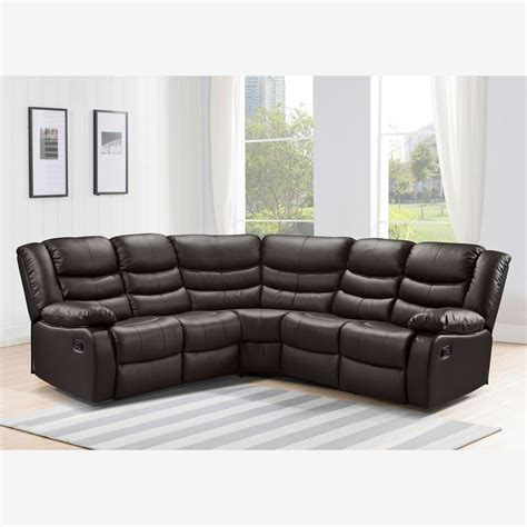 Belfast Recliner Corner Sofa In Dark Brown Bonded Leather Brown Leather Recliner Sofas
