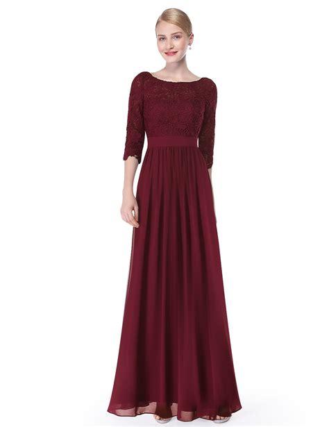 Lace Long Sleeve Floor Length Evening Dress
