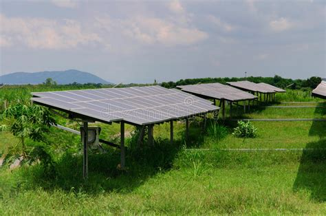 solar energy panels on a green field royalty free stock