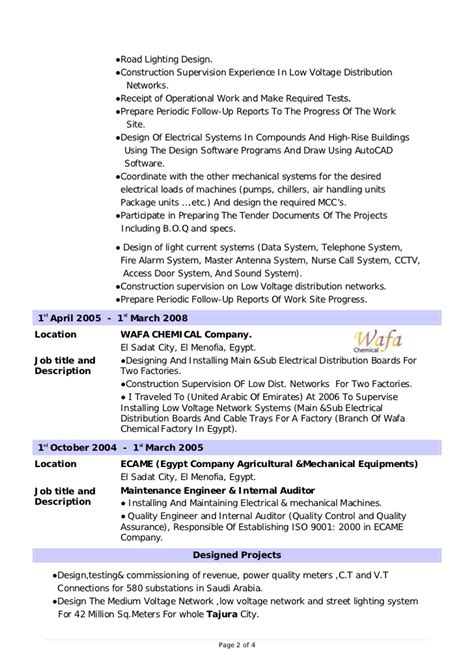 sample resume electrical engineer fresher new format for mechanical