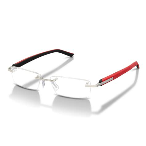 trends rimless polished elastomer frame glasses 8107 005 tag heuer