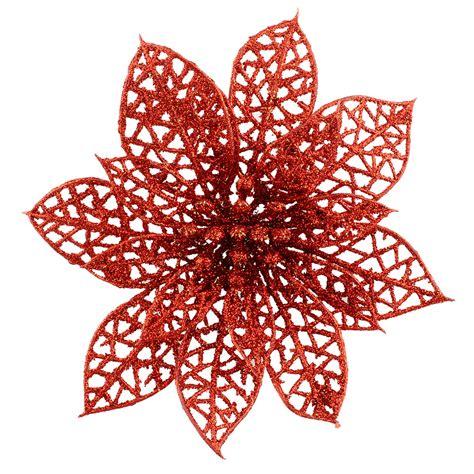 6 quot glitter christmas tree decorations flowers plastic xmas
