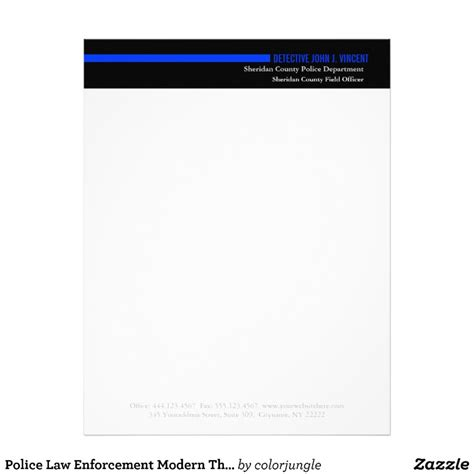 Enforcement Letterhead Enforcement Modern Thin Blue Line Letterhead Zazzle