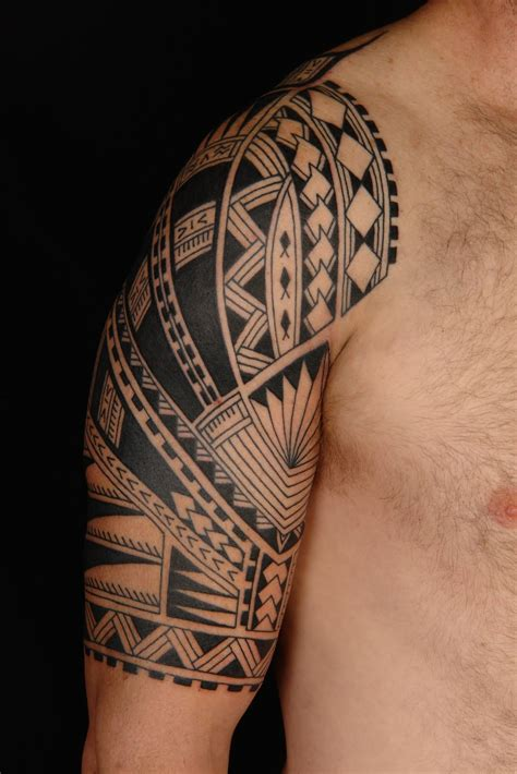 polynesian tattoos for men polynesian half sleeve on left shoulder