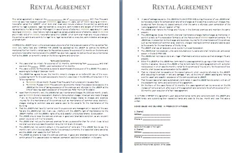 rental contract template rental agreement template free agreement templates
