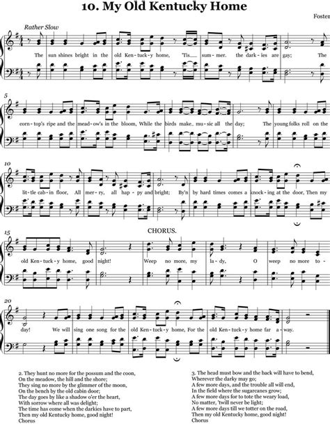 printable lyrics to my old kentucky home 123 best images about piano on pinterest recital free