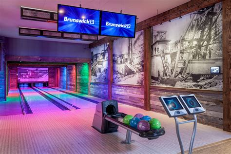 Home Gym Design Companies Denver Bowling Alley Basement Rustic With Black And White