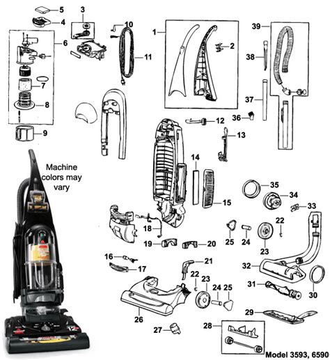 bissell vacuum parts diagram bissell 6590 cleanview bagless upright vacuum cleaner parts