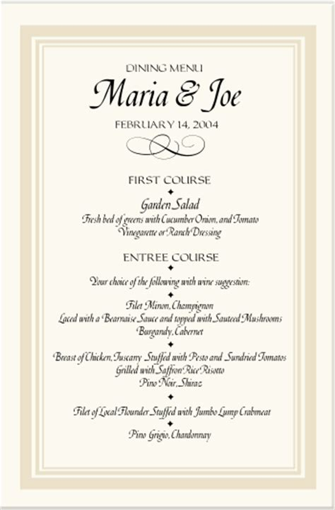 wedding reception menu template wedding dinner menu template www pixshark images