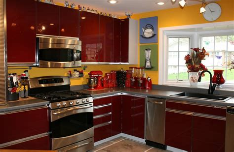 red and yellow kitchen ideas red kitchen decor for modern and retro kitchen design