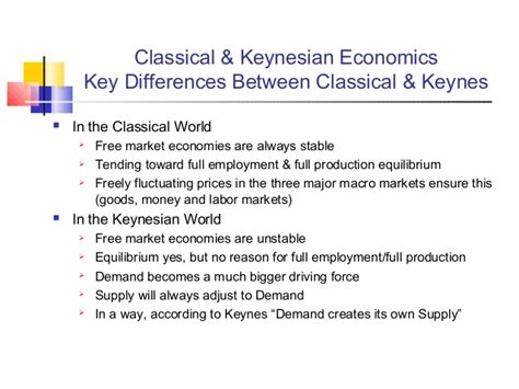exhibit 8 supply side versus keynesian classical and keynesian economics contending approaches to macroecon