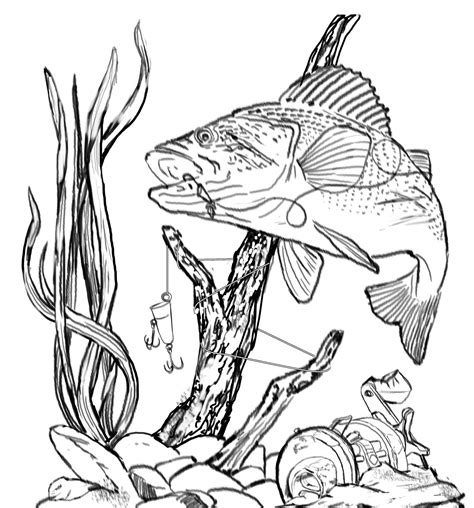 lake fish coloring pages bass fishing clip art other files clip art