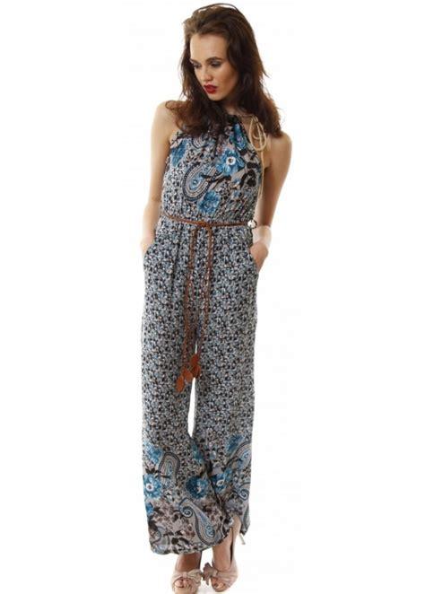 flower design jumpsuit blue floral jumpsuit blue summer jumpsuit cheap jumpsuit
