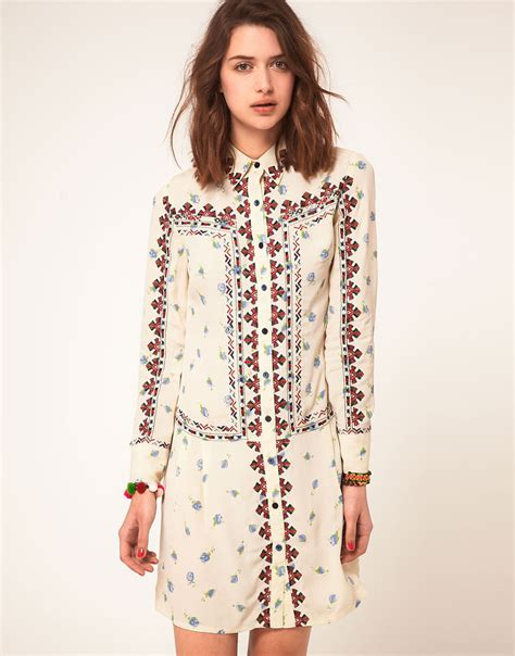 Embroidery Shirtdress asos collection asos floral embroidered shirt dress in