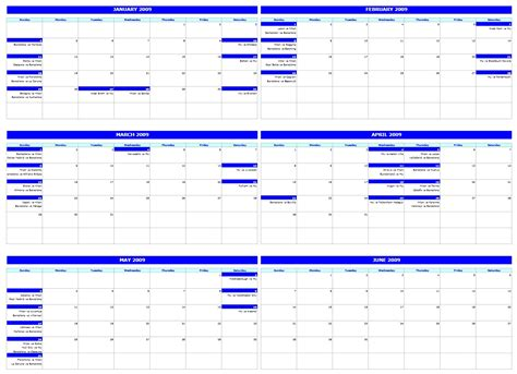 monthly calendar office templates
