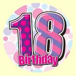 18th birthday badge pink party wizard