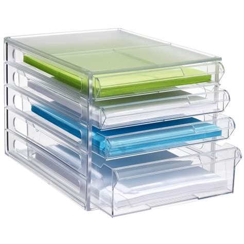 Bulk Buy 5 X J Burrows Desktop File Storage Organiser 4 Desk Drawer Paper Organizer