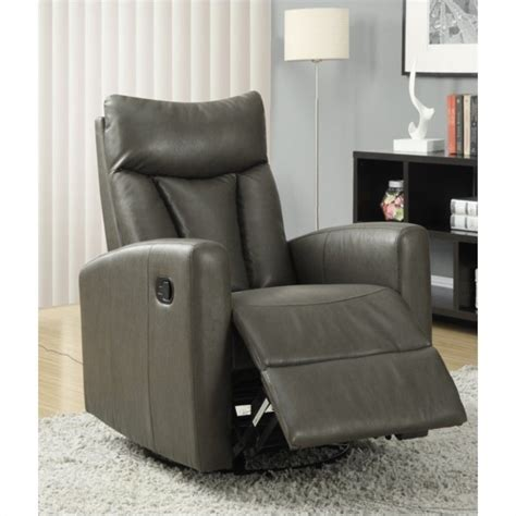 gray glider recliner padded back swivel glider leather recliner in charcoal