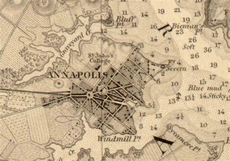 maryland map annapolis approaches to annapolis 1846