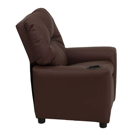child size recliner with cup holder flash furniture contemporary brown leather kids recliner w