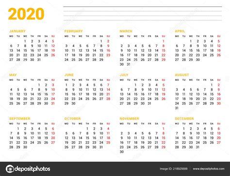 calendar template  year stationery design week starts monday months stock vector