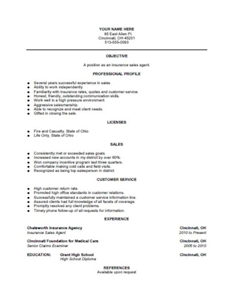 free resume sles for insurance agents insurance sales resume template free printable