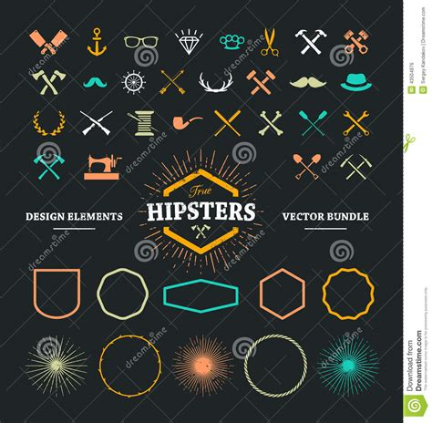 hipster design elements vector hipster design elements stock vector image 43504876