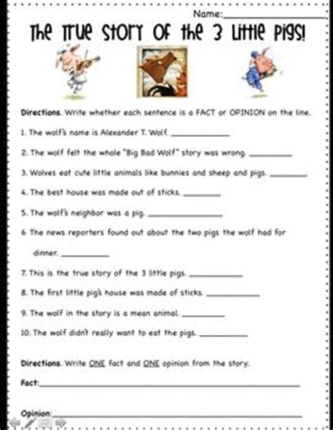 haircut short story point of view fact and opinion fun worksheets for kids and little pigs