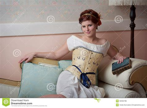 woman reclining beautiful historical woman reclines on couch royalty free