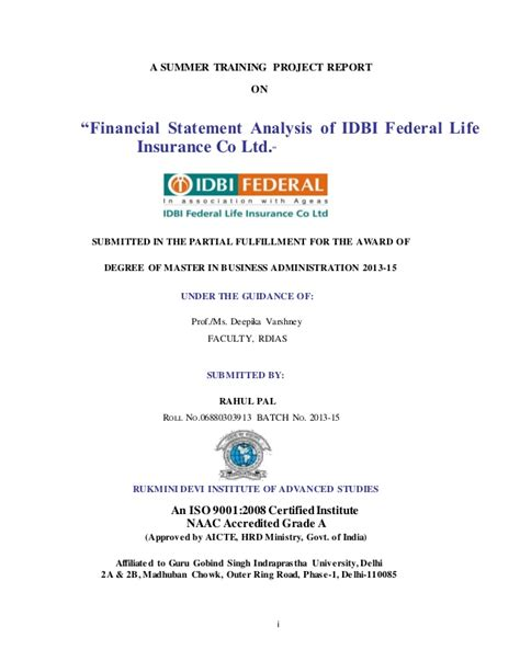 Mba Project Report On Idbi Federal by Project Bonded