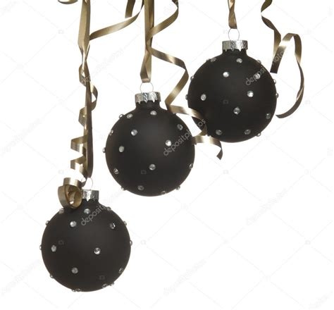 black christmas ball ornaments with crystalls with ribbons