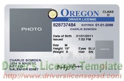 oregon id card template oregon drivers license template oregon drivers license