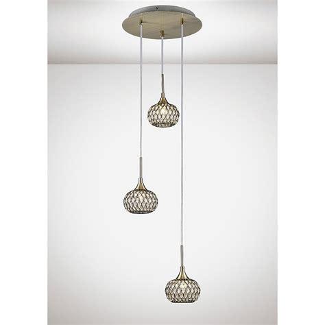 diyas chelsie 3 light ceiling pendant in antique brass