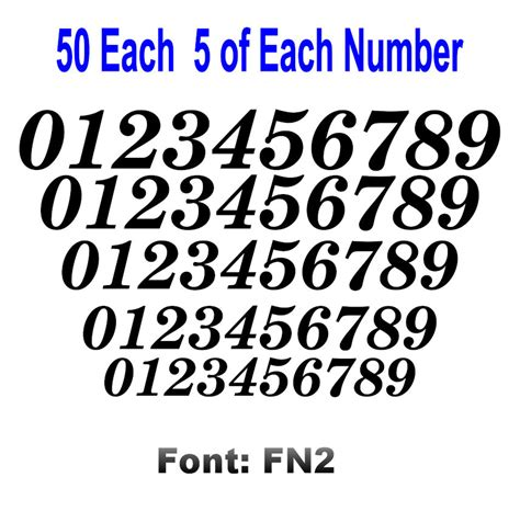12 Inch Vinyl Numbers by 0 9 Numbers 50 Ea Italic Fancy Vinyl Sticker Decals Helmet