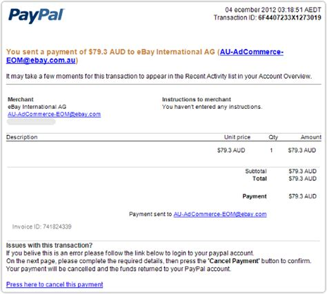 ebay receipt template paypal phishing scams take care of yourself this
