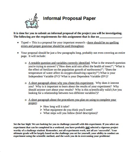 sle informal proposal template 5 free documents in pdf
