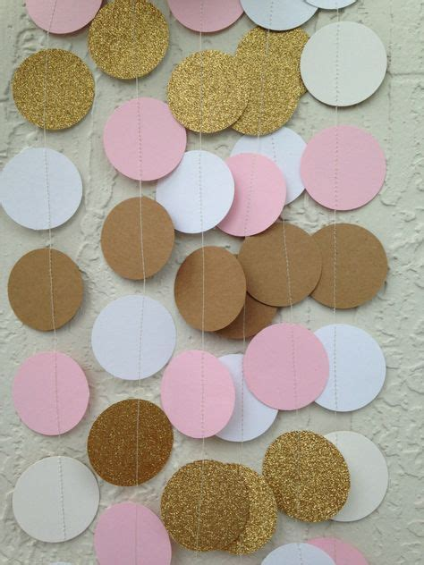pink and brown bridal shower decorations wedding decor gold glitter pink brown and white garland