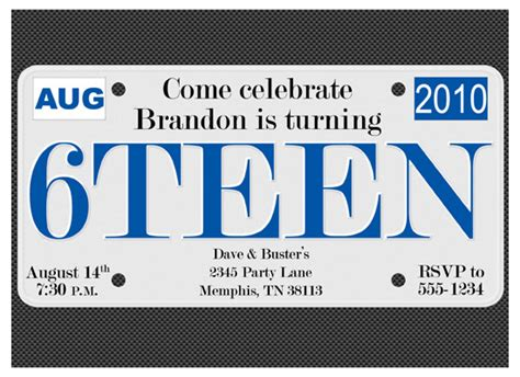 Party Invitations 6teen License Plate At Minted Com License Plate Invitation Template