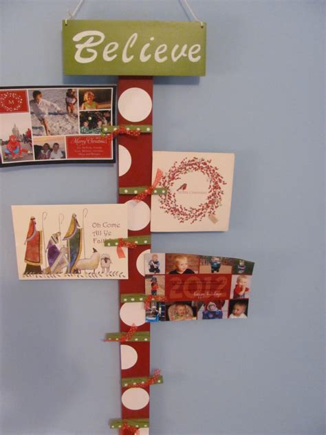 holiday card holder wooden card display christmas by