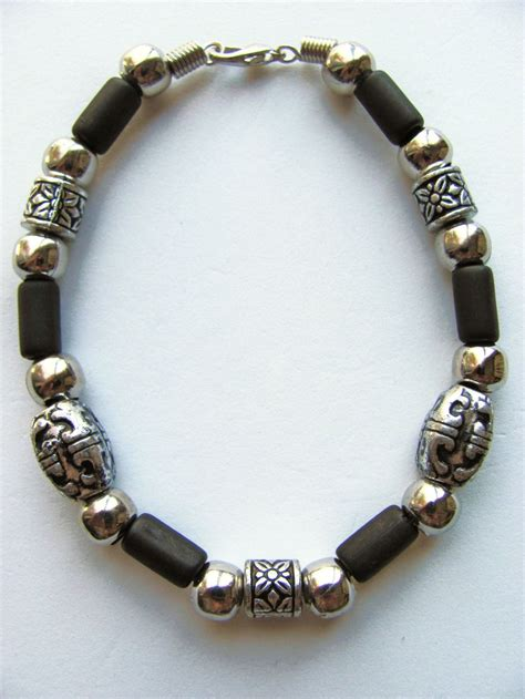 two tone black surfer beaded bracelet s jewelry