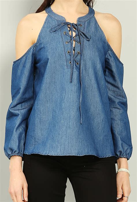 Lace Up Denim Blouse open shoulder lace up denim blouse shop blouse shirts