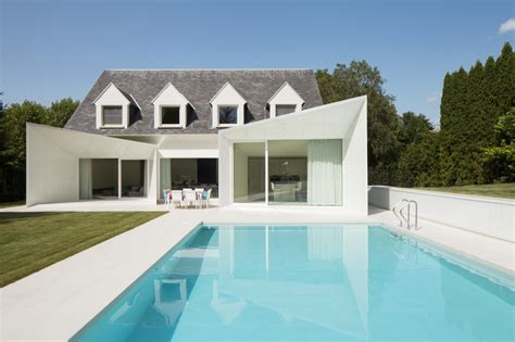 swimming pool house clean lined residence with swimming pool in wemmel