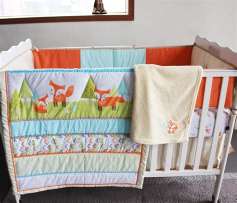 Fox Crib Bedding Embroidery 3d Prairie Fox Baby Bedding Set 7pcs 100 Cotton Baby Crib Bedding Set Early