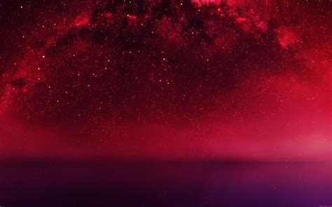 mf cosmos red night  lake space starry papersco