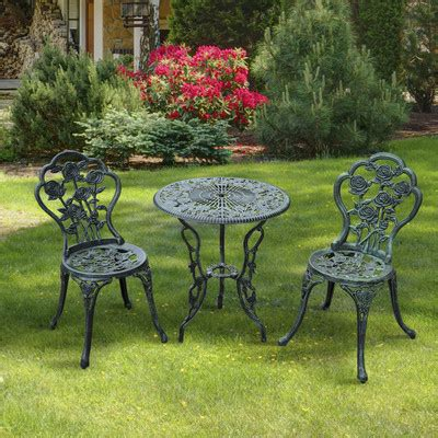 Outsunny 3 Piece Outdoor Cast Iron Patio Antique Style Cast Iron Patio Dining Set