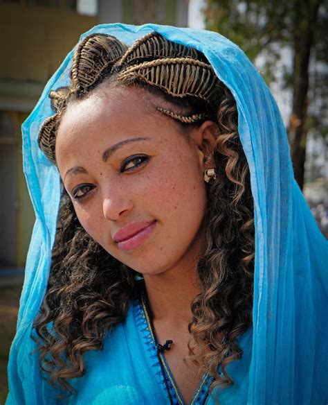 traditional hair young ethiopian woman wearing traditional dress and hairst